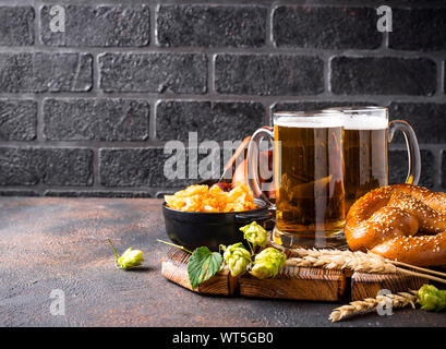 Beer, pretzels and Bavarian food - Stock Photo