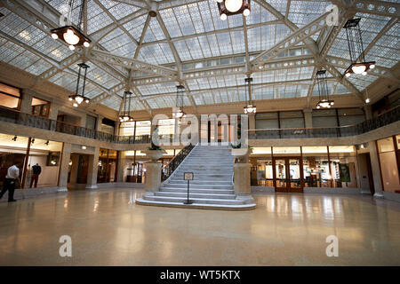 interior atrium of the rookery building Chicago Illinois USA - Stock Photo