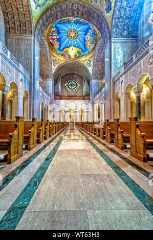 Interior of Basilica of the National Shrine of the Immaculate Conception - Stock Photo