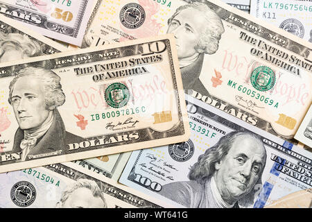 US Dollar bills. one hundred dollar bills background. Top view of business concept on background with copy space. - Stock Photo
