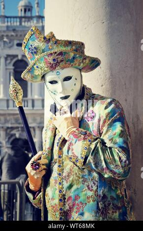 Man In Carnival Costume And Mask During Venice Carnival - Stock Photo