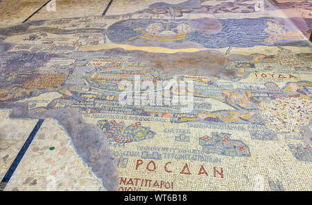 Part of the 6th Century Byzantine mosaic,  Madaba Map showing  ancient Jerusalem left of center - Stock Photo