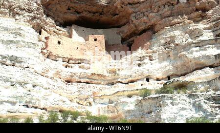 Low Angle View Of Ancient Civilization In Montezuma Castle National Monument - Stock Photo