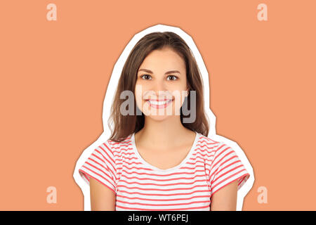 happy young beautiful girl looking at camera and smiling. emotional girl Magazine collage style with trendy color background. - Stock Photo