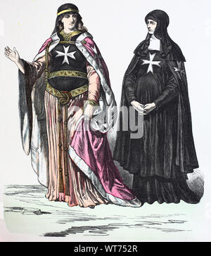 National costume, clothes, history of the costumes, Johanniterinnen, 13th century, Volkstracht, Kleidung, Geschichte der Kostüme, 13. Jahrhundert - Stock Photo