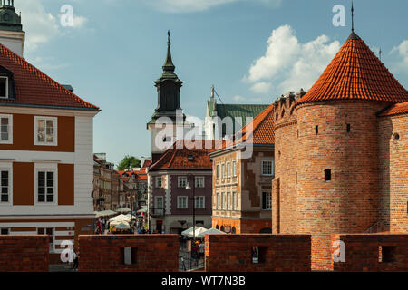 The Barbican and city walls in Warsaw, Poland. - Stock Photo