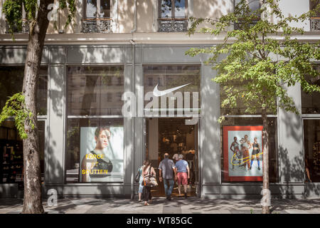 LYON, FRANCE - JULY 13, 2019: Nike logo on their main store for Lyon. Nike is an American brand of sports clothing and footwear famous for its athleti - Stock Photo