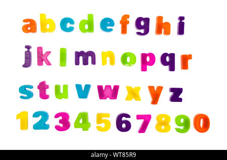 Plastic multi coloured fridge magnet alphabet, letters and numbers - Stock Photo