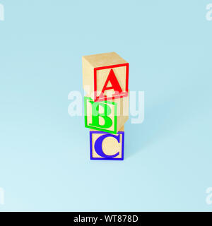 Childrens wooden toys, wooden ABC blocks - Stock Photo