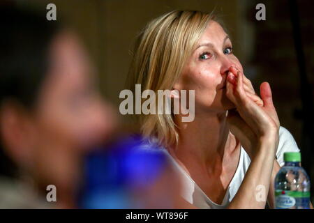 Moscow, Russia. 11th Sep, 2019. MOSCOW, RUSSIA - SEPTEMBER 11, 2019: Actress Ingeborga Dapkunaite during a meeting of the Theater of Nations company ahead of a new season. Sergei Fadeichev/TASS Credit: ITAR-TASS News Agency/Alamy Live News - Stock Photo