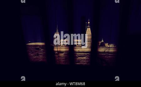 Empire State Building Seen Through Window - Stock Photo