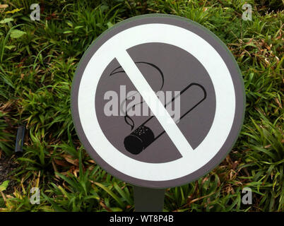 Close-up Of No Smoking Sign Against Plants - Stock Photo