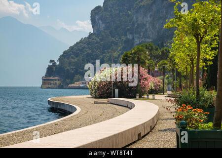 Riva del Garda - The promenade with the Alps in the backgound. - Stock Photo