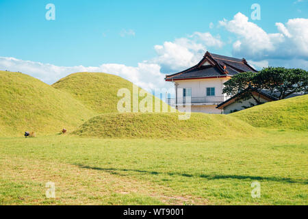 Royal tomb and traditional house in Gyeongju, Korea - Stock Photo