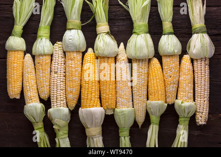 cob, grilled, grilled corn, foil, boiled corn, foil wrapped, corn cobs, recipe, sweet corn - Stock Photo