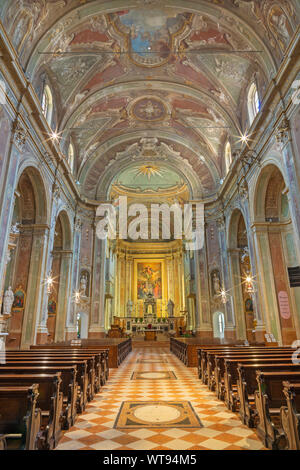 RIVA DEL GARDA, ITALY - JUNE 13, 2019: The nave of church Chiesa di Santa Maria Assunta. - Stock Photo