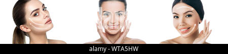 Collage different female faces with lifting arrows on face isolated on white. Skin lift concept - Stock Photo