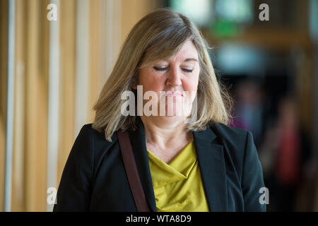 Edinburgh, UK. 5 September 2019. Pictured: Alison Johnstone MSP - Co-Leader of the Scotish Green Party. Scenes from Holyrood before First Ministers Questions returns to the chamber after the summer recess.  Colin Fisher/CDFIMAGES.COM - Stock Photo