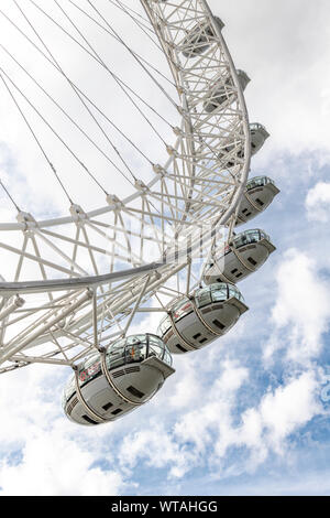 London's Millennium Wheel, now called the London Eye. Built on the Thames then winched upright. The wheel is now sponsored by Coca Cola. - Stock Photo
