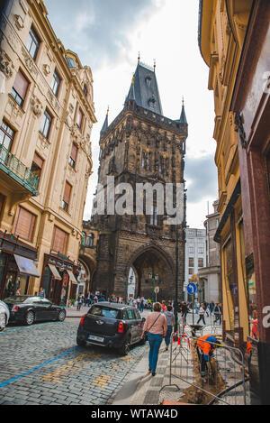 PRAGUE, CZECH REPUBLIC - September 22, 2018: powder tower close up - Stock Photo