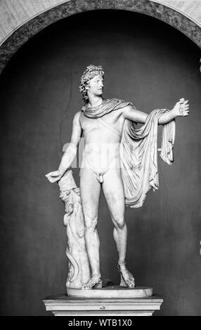 Vatican, Rome, Italy, October 19, 2018: Marble statue of Apollo Belvedere aka Pythian Apollo in Vatican Museum, Italy - Stock Photo
