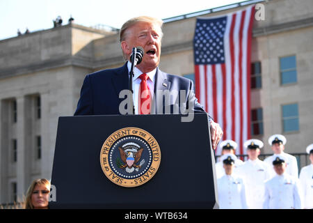 Arlington, Virginia, USA. 11th Sep, 2019. United States President DONALD J. TRUMP makes a statement in front of the Pentagon during the 18th-anniversary commemoration of the September 11 terrorist attacks, in Arlington, Virginia. Credit: Kevin Dietsch/CNP/ZUMA Wire/Alamy Live News - Stock Photo