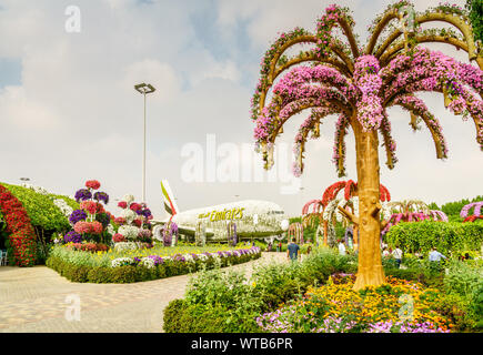 Dubai, UAE, December 22, 2018: Miracle Garden is one of the main tourist attractions in Dubai, UAE - Stock Photo