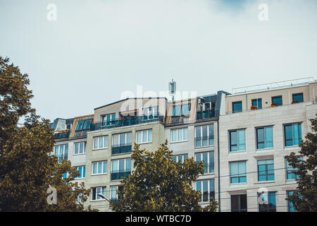 apartment building on a grey day at berlin, germany - Stock Photo