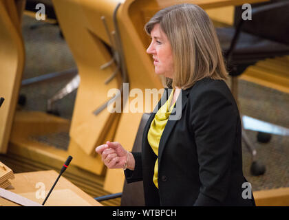 Edinburgh, UK. 5 September 2019. Pictured: Alison Johnstone MSP - Co-Leader of the Scottish Green Party. Health & Sport, Social Security, Children & Young People. Scottish Government Debate: Avoiding A No Deal Exit From The EU.  That the Parliament agrees that the UK should in no circumstances leave the EU on a no-deal basis, and condemns the Prime Minister's suspension of the UK Parliament from as early as 9 September until 14 October 2019. The result of the division is: For 87, Against 28, Abstentions 0. Colin Fisher/CDFIMAGES.COM - Stock Photo
