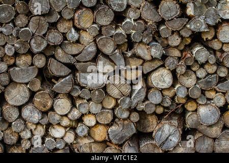 A pile of well-seasoned ovenwood - Stock Photo