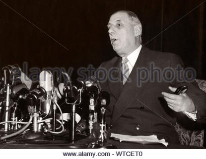 Charles de Gaulle (1890 – 1970) was a French army officer and statesman who led the French Resistance against Nazi Germany in World War II and chaired - Stock Photo