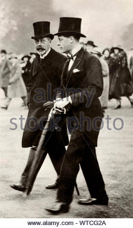 Father and son: King George V and his son, the future King Edward VIII. Edward would abdicate the throne to marry Wallis Simpson - Stock Photo