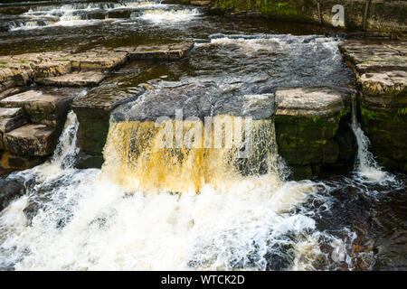 River Swale Waterfall at Richmond, North Yorkshire - Stock Photo