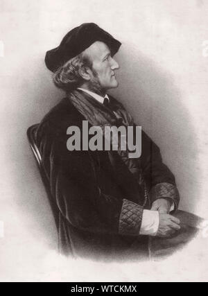 Wilhelm Richard Wagner (1813 – 1883) was a German composer, theatre director, polemicist, and conductor who is chiefly known for his operas - Stock Photo