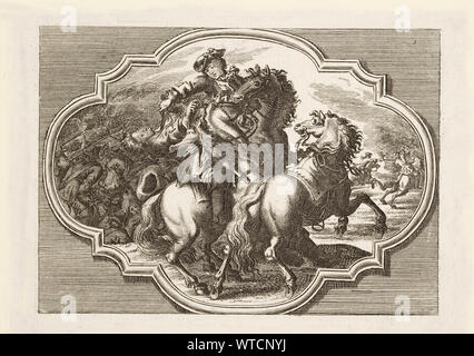 Engravings of horse battles and skirmishes in Europe in the 18th century. - Stock Photo