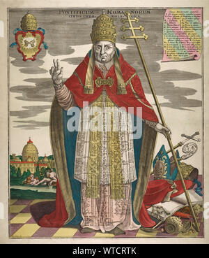 Engraving from atlas Novus. Pontificum Romanorum Series Chronologica. 1728. The image shows a pope, sceptre in one hand, the other hand raised. On his - Stock Photo