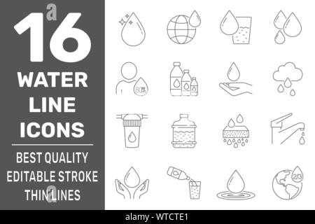 Set of water in thin line style. High quality black outline drop symbols for web site design and mobile apps. Simple water pictograms on white - Stock Photo