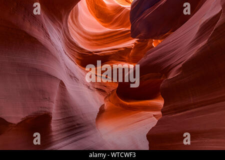 Eroded Navajo Sandstone in the Lower Antelope Canyon, Page, Arizona, USA - Stock Photo
