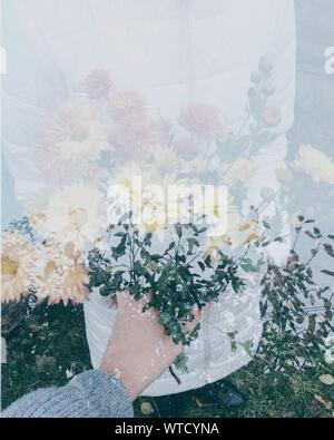 Double Exposure Of Flowers And Women - Stock Photo