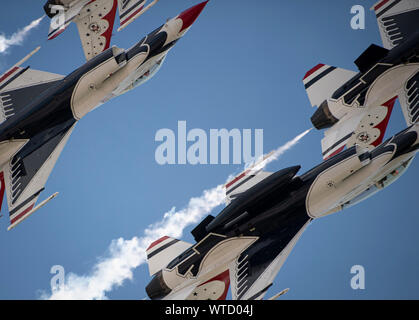 The United States Air Force Air Demonstration Squadron 'Thunderbirds' perform during the Grissom Air and Space Expo, Sept. 7, 2019, at Grissom Air Reserve Base, Ind. The Thunderbirds perform at more than 30 show sites each year, highlighting the pride, precision and professionalism of the Air Force. (U.S. Air Force photo by Senior Airman Andrew D. Sarver) - Stock Photo