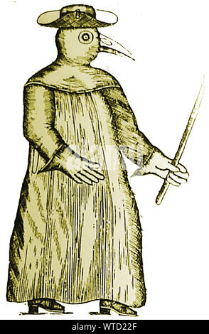 Medicine in 17th century Britain - A leather outfit worn by a doctor or surgeon when treating or visiting patients with dangerous conditions such as the plague. The 'beak' was filled with herbs which they believed would protect them from breathing in 'ill humours' - Stock Photo