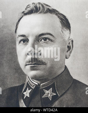 Klim Voroshilov (1881 – 1969), was a prominent Soviet military officer and politician during the Stalin era. He was one of the original five Marshals - Stock Photo