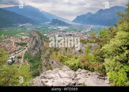 Arco - The Town with the medieval castle, alps and lake in the background.