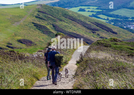 Walkers with backpack and two dogs walking on Baggy Point, Croyde, Nr. Braunton, North Devon, England,  UK - Stock Photo