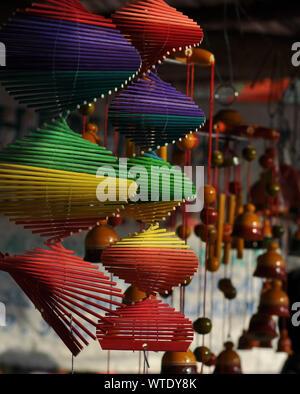 Christmas Lights Hanging On Wall - Stock Photo