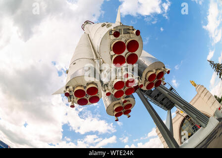 Moscow, Russia - July 8, 2019: Layout launch vehicle 'East' on the territory of the All-Russian exhibition center (VDNKH). Nozzles of rocket engines - Stock Photo