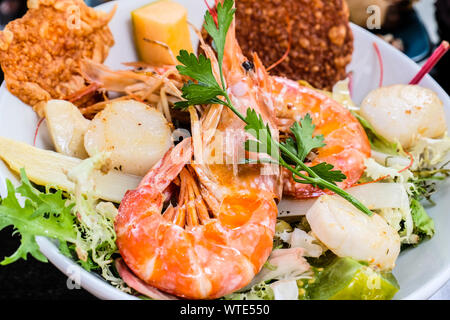 Fixed price menu in French restaurant in France - Stock Photo