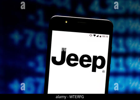 July 8, 2019, Brazil: In this photo illustration the Jeep logo is seen displayed on a smartphone. (Credit Image: © Rafael Henrique/SOPA Images via ZUMA Wire) - Stock Photo
