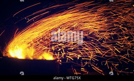Ring Of Fire At Night - Stock Photo