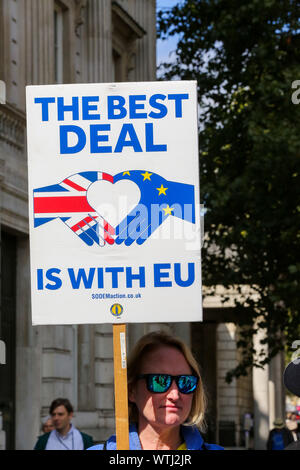 London, UK. 10th Sep, 2019. An anti-Brexit protester holding a placard in Westminster on the first day of prorogation of the Parliament which is now suspended until 14 October. Credit: Dinendra Haria/SOPA Images/ZUMA Wire/Alamy Live News - Stock Photo